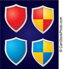 jogo, de, quatro, vetorial, escudos
