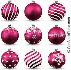 jogo, de, realístico, magenta, natal, balls.