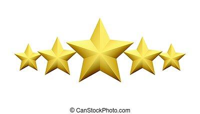 jogo, de, realístico, metálico, dourado, estrela, isolado, branco, experiência., vetorial, ilustração