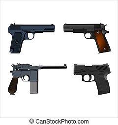 jogo, de, realístico, pistolas, isolado, branco, experiência., vetorial, ilustração