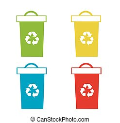 jogo, de, reciclagem, caixas, vetorial, ilustração