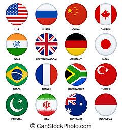 jogo, de, redondo, bandeiras, botões, -, 1