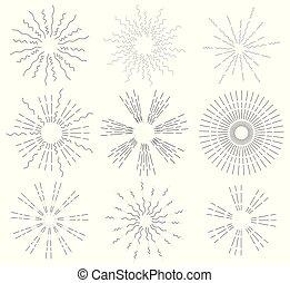 jogo, de, retro, sol, rays., vindima, logotipo, etiquetas, badges., a, explosão, de, fireworks., vetorial, projete elementos, isolado, branco, experiência.