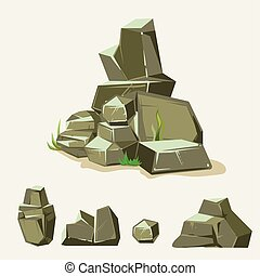 jogo, de, rocks., pedra pedra, com, grass., caricatura, isometric, 3d, apartamento, style., jogo, de, diferente, pedregulhos