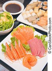 jogo, de, sashimi, alimento japonês