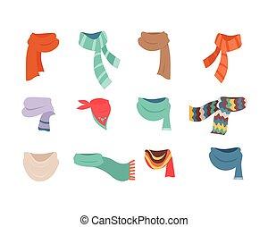 jogo, de, scarves, para, tempo frio, para, meninos meninas