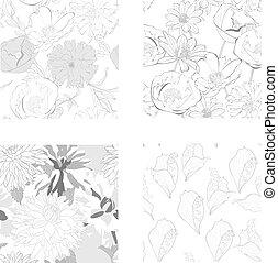 jogo, de, seamless, padrão, com, bonito, flores