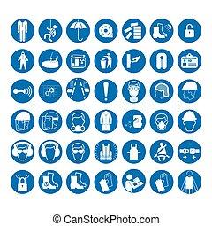 jogo, de, segurança, e, saúde, proteção, signs., mandatory, construção, e, indústria, signs., cobrança, de, segurança, equipment., proteção, ligado, work., vetorial, ilustração