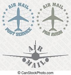 jogo, de, selos, correio aéreo