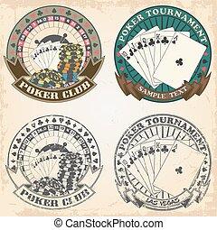 jogo, de, selos, pôquer, clube