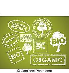 jogo, de, selos, para, alimento orgânico