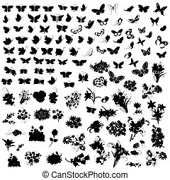 jogo, de, silhuetas, borboleta, e, flores