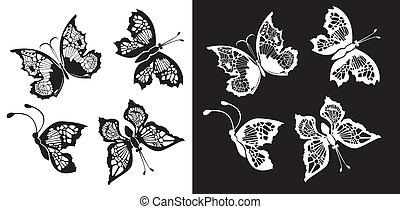 jogo, de, silueta, borboletas