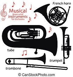 jogo, de, silueta, icons., musical, metais arejam, instrumentos, para, orchestra., vetorial, ilustração