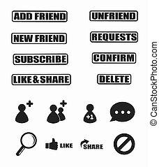 jogo, de, social, rede, ícone