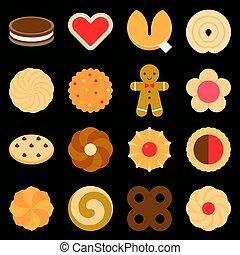 jogo, de, sortido, biscoitos, em, apartamento, desenho, ícone, tal, como, gingerbread, lasca, pinwheel, espiral, forma coração, sanduíche, e, biscoitos fortuna