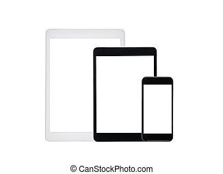jogo, de, tabuleta, computadores, e, smartphone, com, em branco, telas, isolado, branco