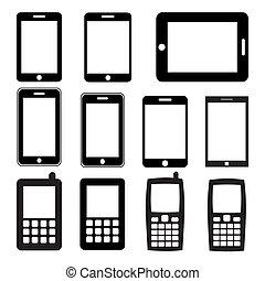 jogo, de, telefones móveis, e, tabuletas