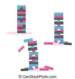 jogo, de, torre, jogo, jenga., bloco madeira, jogo