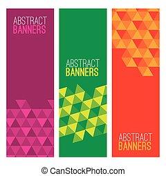 jogo, de, três, abstratos, banners.