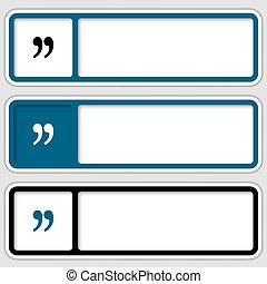jogo, de, três, caixas, para, qualquer, texto, com, marca citação