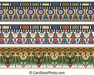 jogo, de, três, egípcio, borda