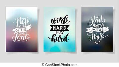 jogo, de, três, mão escrita, lettering, positivo, inspirational, citação