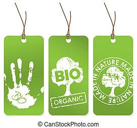 jogo, de, três, verde, etiquetas, para, orgânica