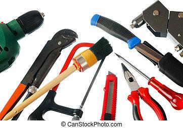 jogo, de, trabalhando, ferramentas, aquilo, é, isolado, ligado, um, fundo branco