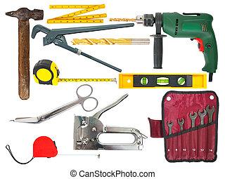 jogo, de, trabalhando, ferramentas