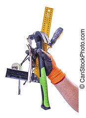 jogo, de, trabalhando, ferramentas, em, macho, mão