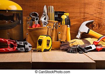 jogo, de, trabalhando, ferramentas, ligado, placas madeira