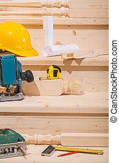 jogo, de, trabalhando, ferramentas, ligado, seteps, de, escada madeira