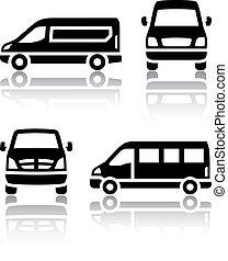 jogo, de, transporte, ícones, -, carga, furgão