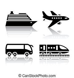 jogo, de, transporte, ícones, -, turista
