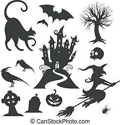 jogo, de, vário, vetorial, dia das bruxas, projete elementos