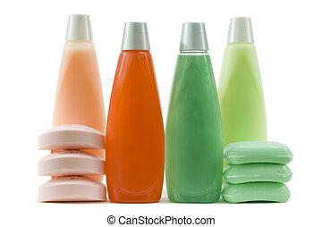 jogo, de, verde, vermelho, e, cor-de-rosa, higiênico,...
