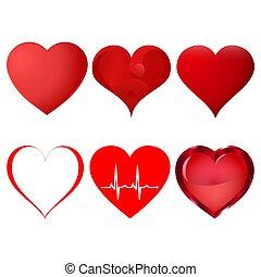 jogo, de, vermelho, corações, isolado, branco, experiência., vetorial, ilustração