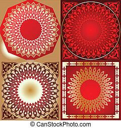 jogo, de, vermelho, ouro, vário, quad, círculo, ornamento