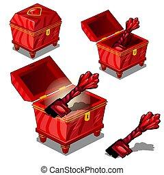 jogo, de, vermelho, vindima, metal, peito, com, um, magia, tecla, isolado, branco, experiência., vetorial, illustration.