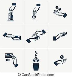 jogo, de, vetorial, ícones, com, mãos, segurando, a, moedas, e, cartões crédito