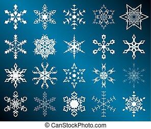 jogo, de, vetorial, branca, snowflakes