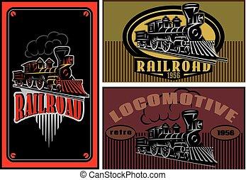 jogo, de, vetorial, colorido, cartões negócio, modelos, com, retro, locomotivas