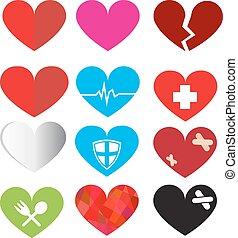 jogo, de, vetorial, coração, símbolo