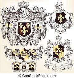 jogo, de, vetorial, heraldic, projete elementos, com, brasão, em, vindima, style.eps