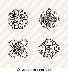 jogo, de, vetorial, mandala, symbols., gótico, renda, tattoo., celta, tecer, com, afiado, corners.