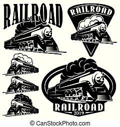 jogo, de, vetorial, modelos, com, um, locomotiva, vindima, trem