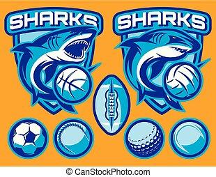 jogo, de, vetorial, modelos, para, esportes, emblemas, com, tubarões, e, bolas