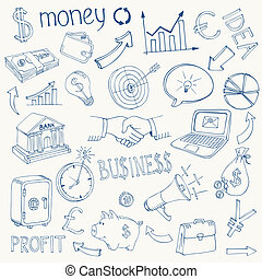 jogo, de, vetorial, negócio, e, dinheiro, ícones
