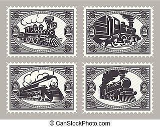 jogo, de, vetorial, selos, modelos, com, retro, trens